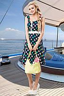 Летний винтажный сарафанчик в разноцветный горошек