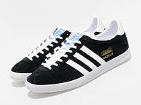 Мужские кроссовки Adidas Gazelle черные с белым, размеры с 40 по46