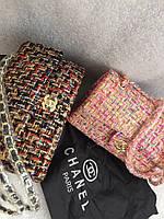 Стильная женская сумка CHANEL размеры 27*17 см, материал вязка. Логотипы внутри и снаружи