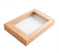 Коробка для эклеров, пряников, 240×150×42 мм., с окошком, крафт, фото 1