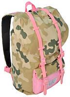 """Женский рюкзак с отделом для ноутбука 15,6"""", 25 л. Paso CM-192A камуфляж/розовый"""