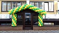 Гирлянда из воздушных шариков в желто-зеленом цвете на открытие магазина детских товаров
