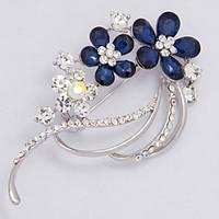 Брошь серебристая синие цветы