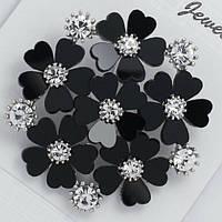 Брошь черные цветы