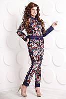 Брючный джинсовый костюм с цветочным принтом