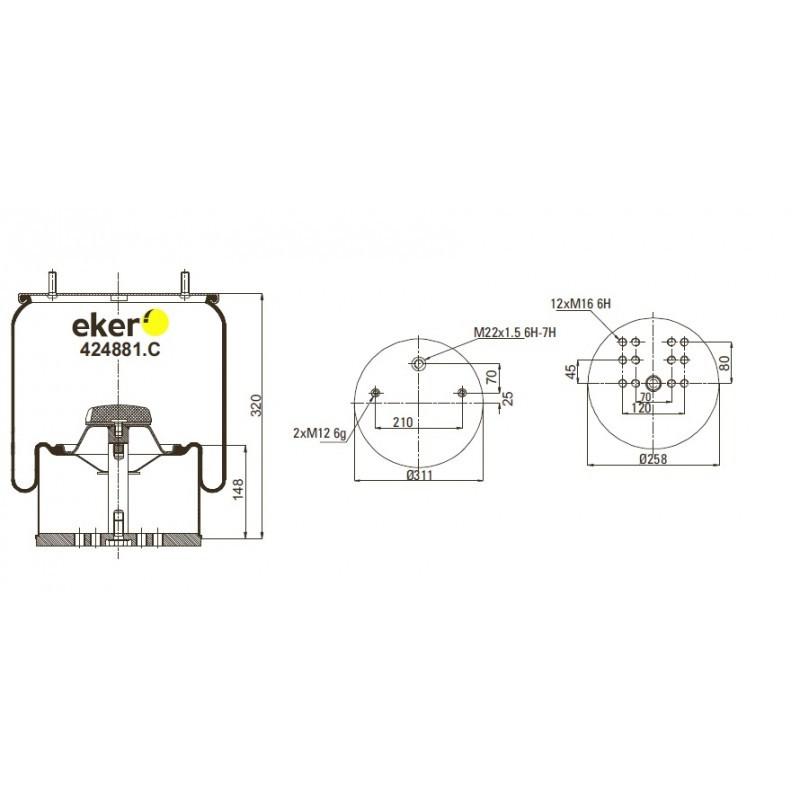 424881.C Пневморессора 4881MB со стаканом, 2 шпильки(смещены)+воздух М22мм