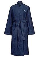 Халат темно-синий махровый средней длины с карманами, Tom Tailor S