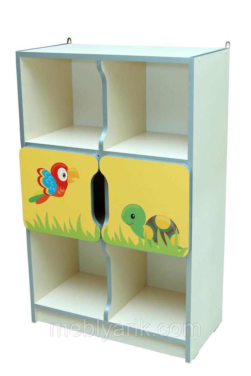 Шкаф детский ЗВЕРЮШКИ № 7 с 2-мя маленькими дверками на 6 отделений