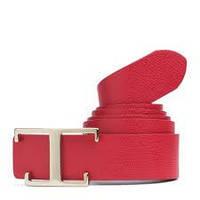 Ремень красный кожаный с фигурной пряжкой, Tommy Hilfiger 85cm
