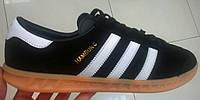 Мужские кроссовки Adidas Hamburg черные с белым, размеры с 41 по 45