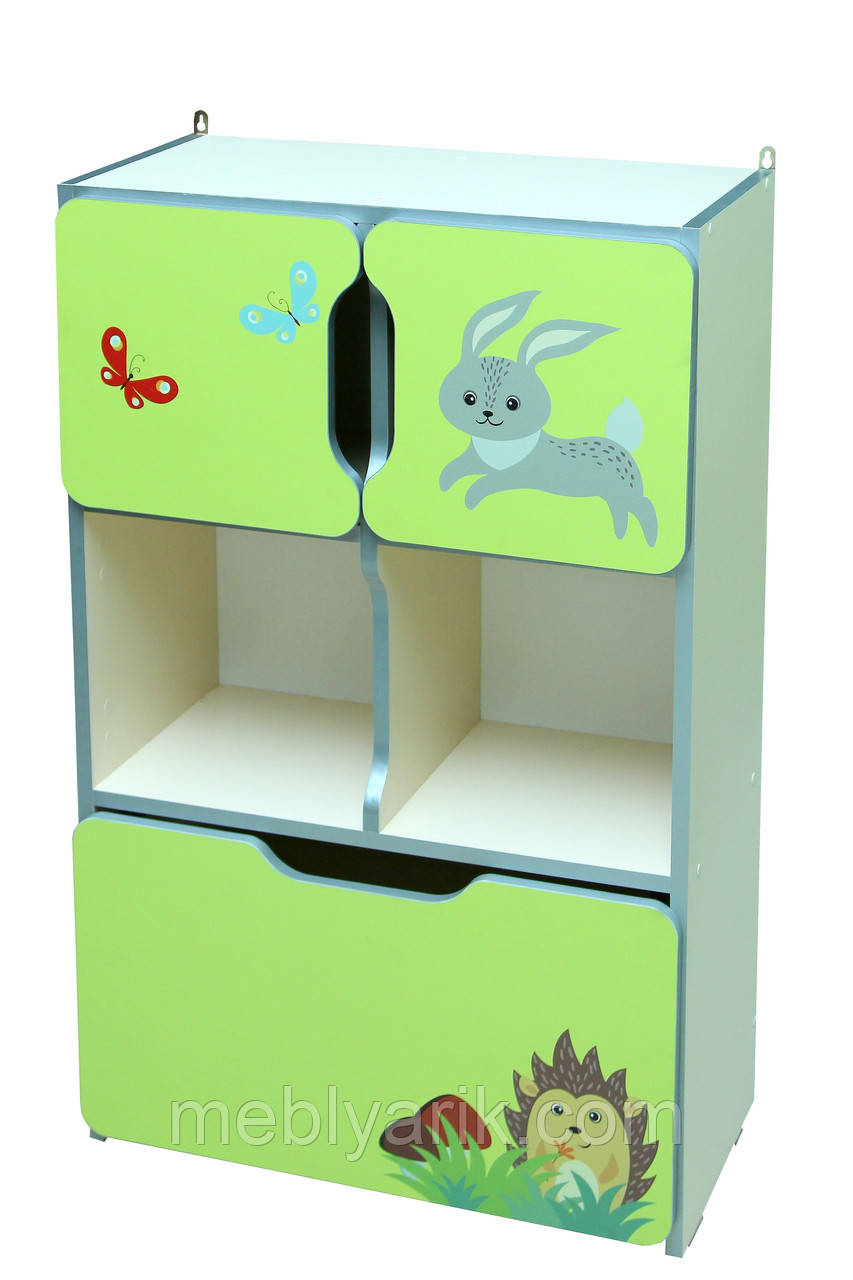 Шкаф детский ЗВЕРЮШКИ № 9 с 2-мя маленькими дверками и с ящиком на 5 отделений