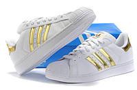 Кроссовки Adidas Superstar белые с золотом