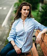 Голубая женская блуза больших размеров, рукав 3/4, ткань в полоску. Разм. L, XL, XXL, 3XL.Davanti.