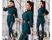 Женский костюм блуза из шифона-жатки и лосин из эко-кожи (4 цвета)