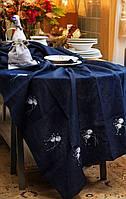 Скатерть джинсовая с вышитыми одуванчиками