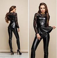Женский костюм из экокожи с гипюром брюки+кофточка