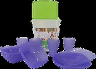"""Набір пластмасового посуду для пікніка """"Алеана"""". 17 предметів."""
