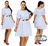 Нежное платье батал из батиста с Вышивкой белый, 52 и 54 ,белый, бежевый и голубой, 48, фото 3
