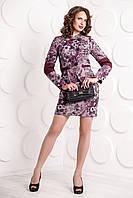 Шикарный костюм с юбкой итальянская ткань с цветочным принтом