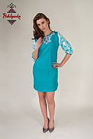 Лляне жіноче плаття Мереживо бірюзове
