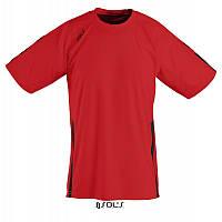 Спортивная футболка красно-черного цвета,  пофессионального уровня SOL'S WEMBLEY от S до XXL