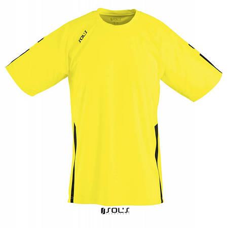 Спортивная футболка лимонно-черного цвета,  пофессионального уровня SOL'S WEMBLEY от S до XXL