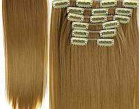 Трессы прямые комплект блонд пшеничный волосы на клипсах 55см 150г