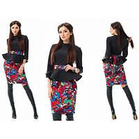 Цветной костюм юбка + кофточка с баской (разные цвета)