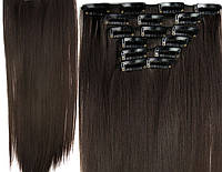 Трессы прямые комплект темно-коричневые волосы на клипсах 60см 145г №2/33
