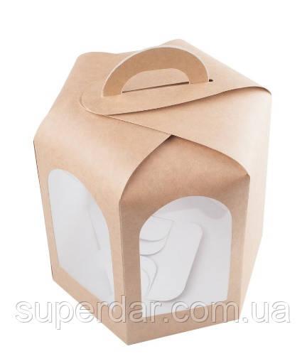 Коробка для кулича, пряничного домика, 150х150х150 мм., крафт