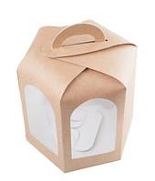 Коробка для кулича, пряничного домика, 150х150х150 мм., крафт , фото 1