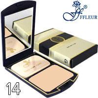 Ffleur Пудра компактная 2в1 для лица Two Way Cake TK-12 Тон 14 натуральная кремовая