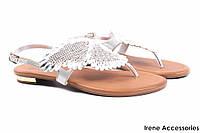 Стильные босоножки женские Tucino с камнями натуральная кожа, цвет серебро (каблук, комфорт, Турция)