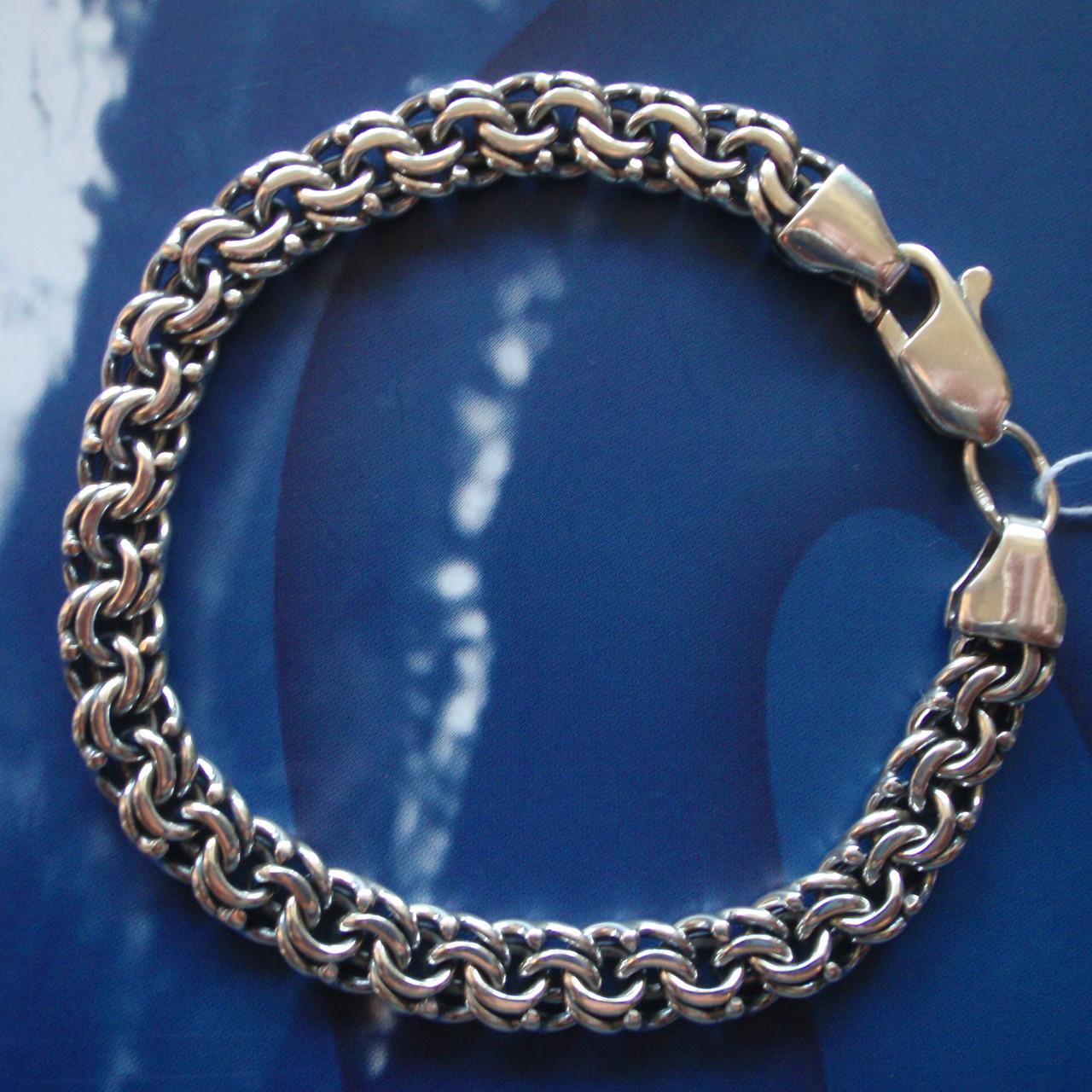 Cеребряный мужской браслет, 215мм, 26 грамм, плетение Бисмарк