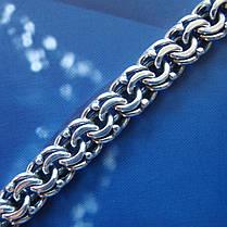 Cеребряный мужской браслет, 215мм, 26 грамм, плетение Бисмарк, фото 3