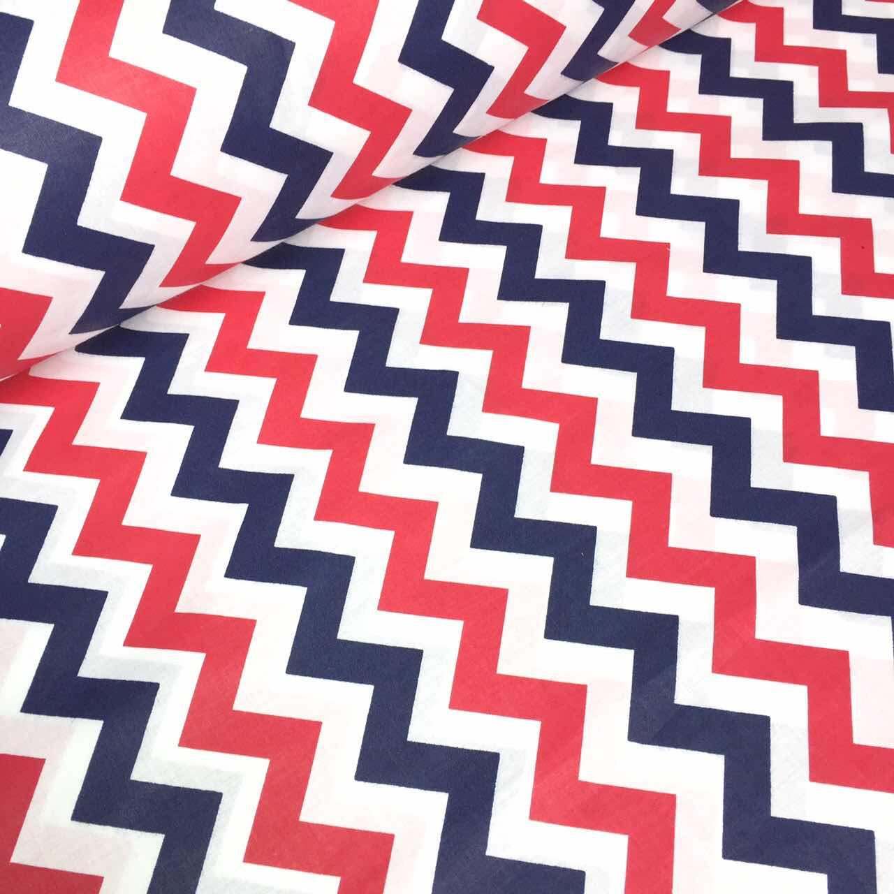 Тканина бавовняна широкий синьо-червоний зигзаг 135г/м2 №596