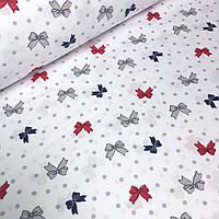 Ткань хлопковая с красными, синими и серыми бантиками и серым горохом 4мм на белом фоне 135г/м2 №597