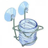 Стакан для зубных щёток и принадлежностей на присоске стеклянный AR91440