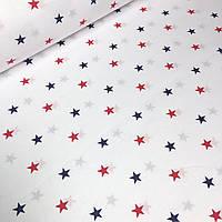 Бязь Польша со звёздами синего и красного цвета на белом 135 г/м2 №598