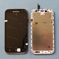 Оригинальный ЛСД экран и Тачскрин сенсор Lenovo A859 модуль с рамкой