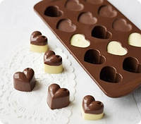 7157 Шоколад / Лед Сердечки 12 шт 20*12*2см, кондитерские принадлежности