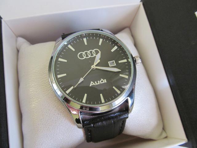 Мужские наручные часы AUDI (АУДИ), хром с чёрным циферблатом серебристые на руку
