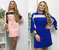 Женское прямое  весеннее платье с макраме