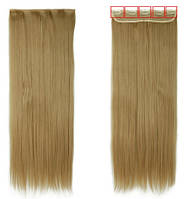 Трессы ровные блонд пшеничный волосы на клипсах 130г 24/27