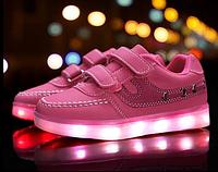 Детские LED кроссовки светящиеся розовые (LEDKED Kids Casual Pink)