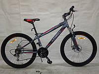 Горный спортивный велосипед 24 дюймов Azimut Extreme G-FR/D-1 (оборудование SHIMANO)черно-красный ***
