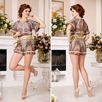 Стильный молодежный костюм (топ+шорты) высокого качества (3 расцветки)