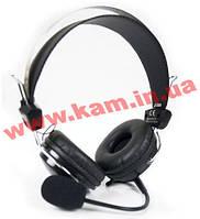 Наушники A4-Tech HS-7P с микрофоном.Black. Stereo, мягкие двухслойные накладки для уше (HS-7P Black)