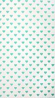 Подарочная бумага (упаковочная) белая в бирюзовых сердечках