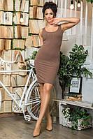 Платье майка женское ткань трикотаж цвет кофейный